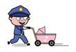 Walking with Pram - Retro Cop Policeman Vector Illustration