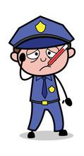 Unwell - Retro Cop Policeman Vector Illustration