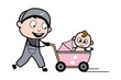 Walking with Baby in Pram - Retro Repairman Cartoon Worker Vector Illustration