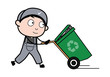 Running with Recycle Bin - Retro Repairman Cartoon Worker Vector Illustration