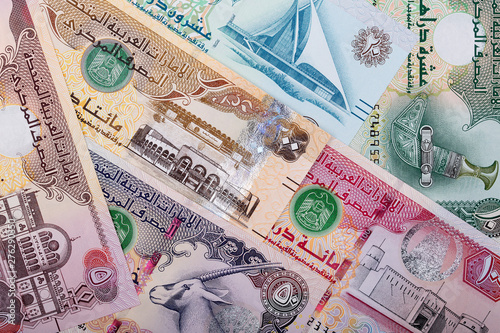 United Arab Emirates Dirham, a business background Tablou Canvas