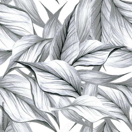 Poster Graphic Prints Seamless pattern with a pencil of tropical leaves, calla flowers. manual graphics. Botanical flower, floral pattern for textile decor and design, patterns. botanical color illustration. stock graphics
