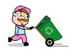 Holding a Recycle Bin and Running - Retro Delivery Man Vendor Vector Illustration