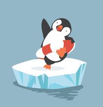 Cartoon Penguin Inflatable Rin...