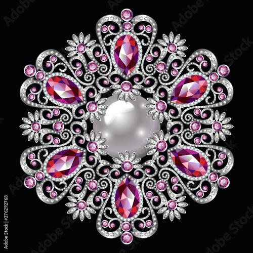 Mandala brooch jewelry, design element Fototapete