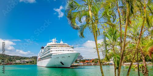 Cruise ship docked in Castries, Saint Lucia, Caribbean Islands. Fototapeta