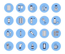Medicines, Dosage Forms Vector Line Icons. Pharmacy Medicaments, Tablet, Capsule, Pill, Antibiotics, Vitamins, Painkillers, Aerosol Spray, Gel Medical Treatment Health Care Thin Signs For Drug Store