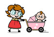 A Mother Walking with Her Baby in Pram - Teenager Cartoon Intelligent Girl Vector Illustration