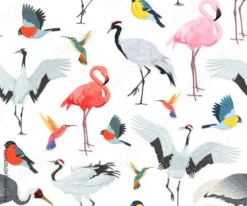 Canvas Prints Flamingo Bird Seamless pattern with birds. Flamingos, cranes, hummingbirds, chickadees and bullfinches