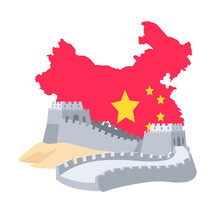 Great Wall Of China And Chinese Map Decorated By National Flag, Historical Landmark, Shape Of State And Tourism Object, Boundary From Bricks Vector