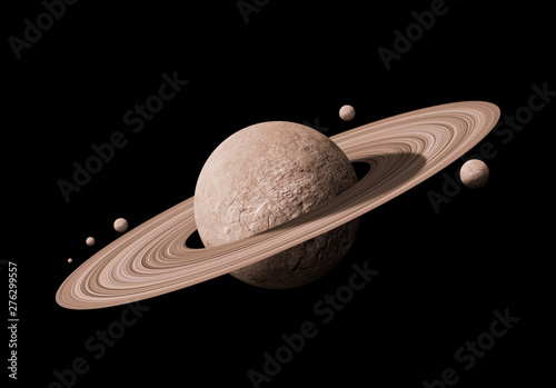 Fotografie, Obraz saturn planets in deep space with rings  and moons surrounded.