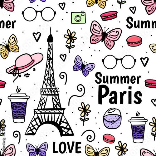 jednolity-wzor-lato-paryz-z-wiezy-eiffla-i-motyla-wektor-recznie-rysowane-szkic-na-bialym-tle