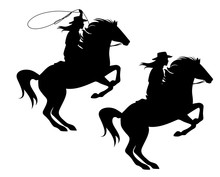 Cowgirl Riding A Horse And Throwing Lasso - Rearing Up Stallion And Woman Cowboy Black Vector Silhouette Design