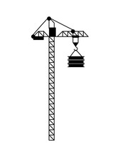High Lift Construction With Hook And Load, Crane In Black Color And Flat Design Style, Modern Equipment For Raising Building Objects, Machine Vector