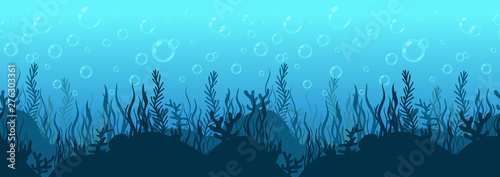 Carta da parati Underwater world background, sea bottom silhouette with algae and coral reef, seabed hand drawn, seascape horizontal seamless border, blue ocean flat drawing, marine frame