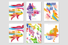 Run Fest Posters Set, Sport And Competition Concept, Running Marathon, Colorful Design Element For Card, Banner, Print, Badge Vector Illustrations