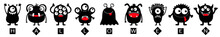 Happy Halloween Text. Monster Black Round Silhouette Icon Set Line. Eyes, Tongue, Tooth Fang, Hands Up. Cute Cartoon Kawaii Funny Scary Baby Character. White Background. Flat Design.