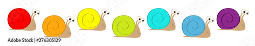 Snail icon set line. Cute cartoon kawaii funny character. Insect isolated. Colorful shell house. Big eyes. Smiling face. Flat design. Baby clip art. White background.