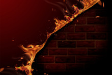 Burning Fire And Red Brick Wall