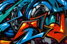 Beautiful Colored Graffiti Drawing On The Wall.