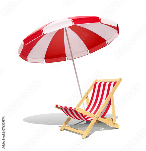 Vászonkép Beach chaise longue and sunshade for summer rest