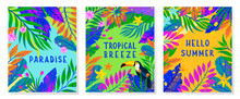 Set Of Summer Vector Illustration With Bright Tropical Leaves,flowers And Toucan.Multicolor Plants With Hand Drawn Texture.Exotic Backgrounds Perfect For Prints,flyers,banners,invitations,social Media