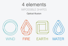 Nature Infographic Elements On Dark Background. Impossible Shapes And Optical Illusion. Line Symbols With Air, Fire, Earth, Water. Alternative Energy Sources And Eco Logo