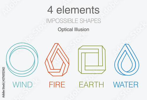 Fototapeta Nature infographic elements on dark background. Impossible shapes and optical illusion. Line symbols with air, fire, earth, water. Alternative energy sources and eco logo obraz