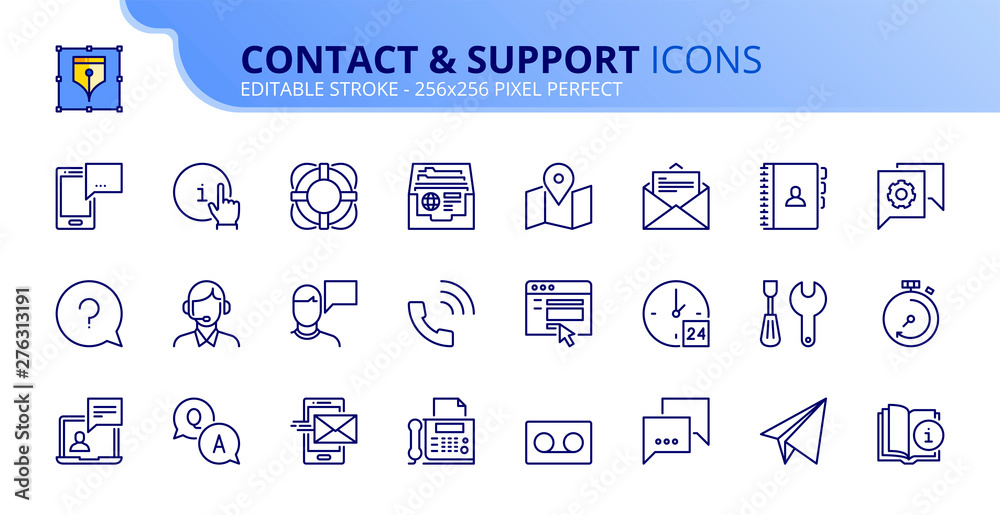 Fototapety, obrazy: Simple set of outline icons about contact and support