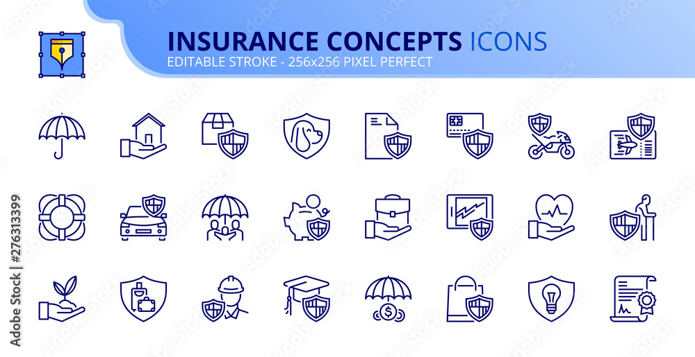 Fototapety, obrazy: Simple set of outline icons about insurance concepts