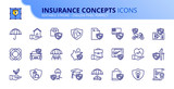 Simple set of outline icons about insurance concepts - 276313399