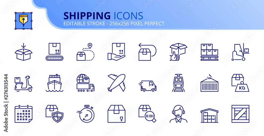 Fototapety, obrazy: Simple set of outline icons about shipping