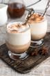 Affogato coffee with vanilla ice cream and cinnamon