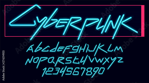 Vector neon cyber font and alphabet Fototapeta