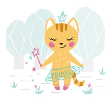 Kitty Baby Girl Cute Print. Sweet Cat With Magic Wand, Crown, Ballet Tutu, Pointe Shoes In Forest