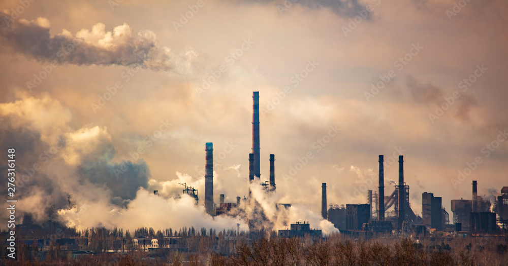 Fototapety, obrazy: Smoke from pipes of metallurgical plant