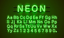 Neon Font City. Neon Green Fon...