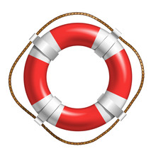 Red And White Lifebuoy For Help Life In Sea Vector. Lifebuoy Of Solid Floating Material In Shape Of Torus. Flotation Hoop With Rope In Bright Color Front View Realistic 3d Illustration