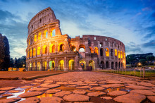 Colosseum Morning In Rome, Italy. Colosseum Is One Of The Main Attractions Of Rome. Rome Architecture And Landmark.