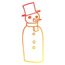 Warm Gradient Line Drawing Cartoon Traditional Snowman