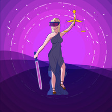 Justice Femida With Scales, Virtual Reality Glasses VR