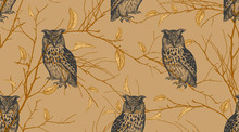 Seamless Pattern With Forest Birds Owls And Tree Branches.