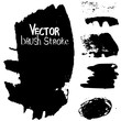Set of strokes of black paint. Vector brush grunge. Collection of monochrome banners. Templates for inserting text.