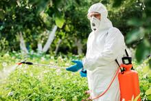 Worker Sprays Organic Pesticid...