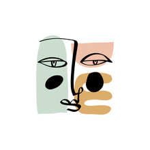 Hand Drawing Face Line Art In Cubism Style. Color Print For Clothes, Textile And Other. Vector.