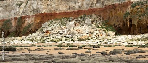 Fototapeta  Sedimentary cliff rockfall at Hunstanton, Norfolk, UK