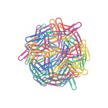 Heap Of Colorful Paper Clips In Different Colors Red, Green, Blue, Pink Or Orange Isolated On White Background. Design Element For Office Or School Supplies, Stationery