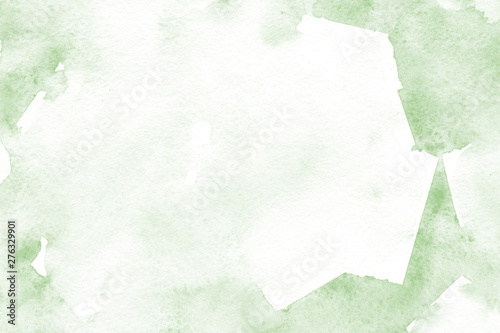 Natural green background with fresh watercolor texture in trendy eco style for modern healthy food design, bio label, eco-friendly products, organic brand style, and web site/app screen backgrounds Canvas Print
