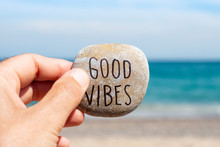 Text Good Vibes In A Stone On ...