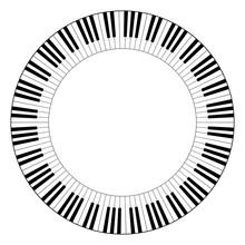 Musical Keyboard Circle Frame,...